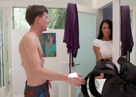 Dark haired cougar fucks her son's friend in the bathroom