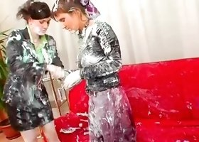 Hot ladies get messy together